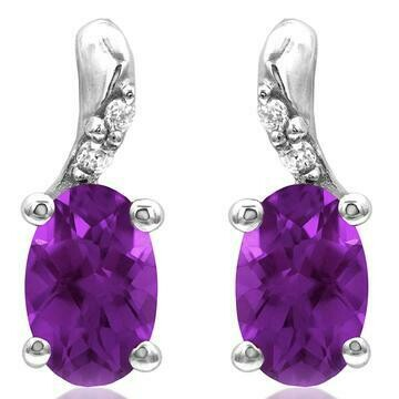 Oval Amethyst Earrings with Diamond Accent White Gold