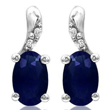 Oval Blue Sapphire Earrings with Diamond Accent 14KT Gold