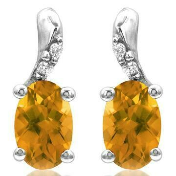 Oval Citrine Earrings with Diamond Accent White Gold