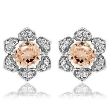 Floral Morganite Stud Earrings with Diamond Frame 14KT Gold
