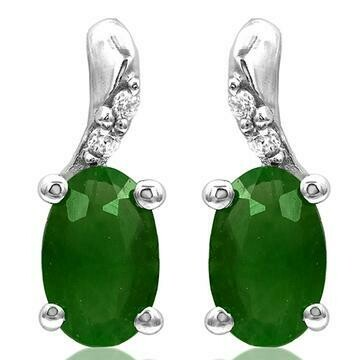 Oval Emerald Earrings with Diamond Accent White Gold