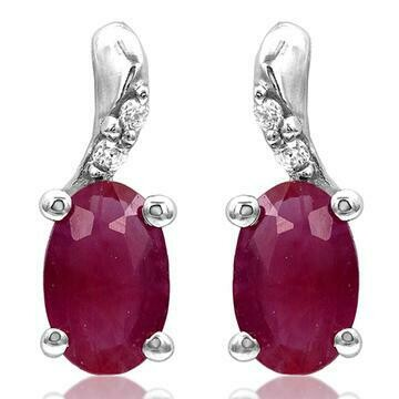 Oval Ruby Earrings with Diamond Accent White Gold