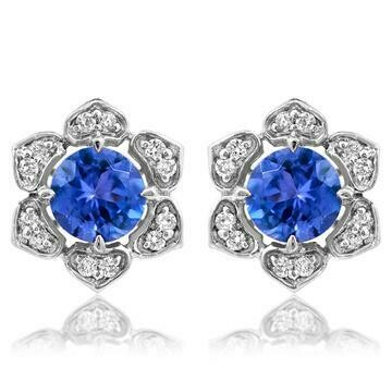 Floral Tanzanite Stud Earrings with Diamond Frame White Gold
