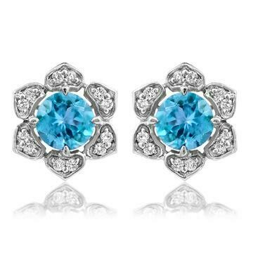 Floral Blue Topaz Stud Earrings with Diamond Frame 14KT Gold
