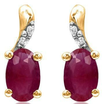 Oval Ruby Earrings with Diamond Accent Yellow Gold