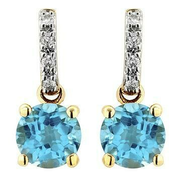 Blue Topaz Earrings with Diamond Accent Yellow Gold