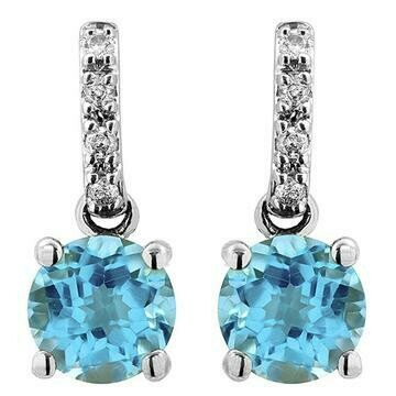 Blue Topaz Earrings with Diamond Accent 14KT Gold