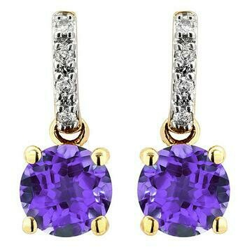 Amethyst Earrings with Diamond Accent Yellow Gold