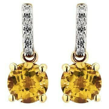 Citrine Earrings with Diamond Accent Yellow Gold