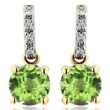 Peridot Earrings with Diamond Accent Yellow Gold