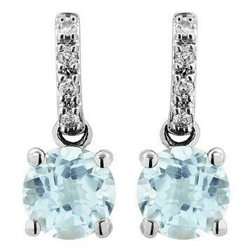 Aquamarine Earrings with Diamond Accent White Gold