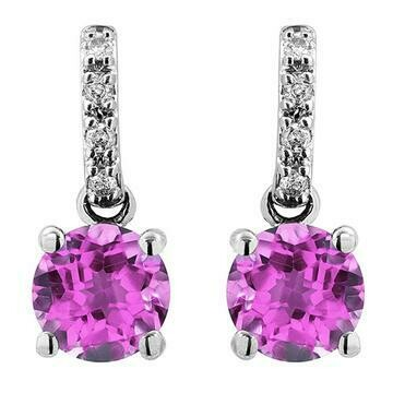 Pink Topaz Earrings with Diamond Accent 14KT Gold