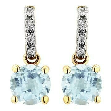 Aquamarine Earrings with Diamond Accent Yellow Gold