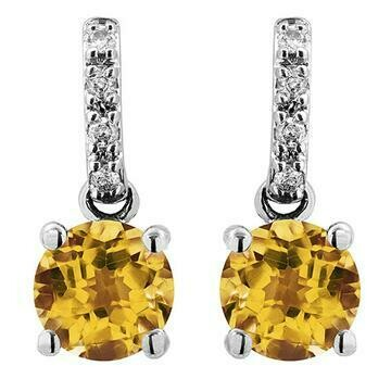 Citrine Earrings with Diamond Accent White Gold