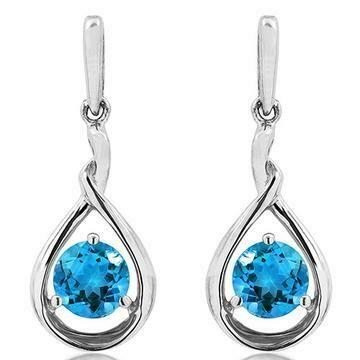 Blue Topaz Dangle Teardrop Earrings 14KT Gold