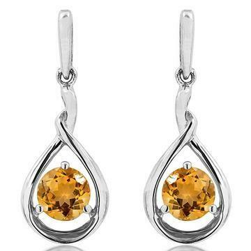 Citrine Dangle Teardrop Earrings 14KT Gold