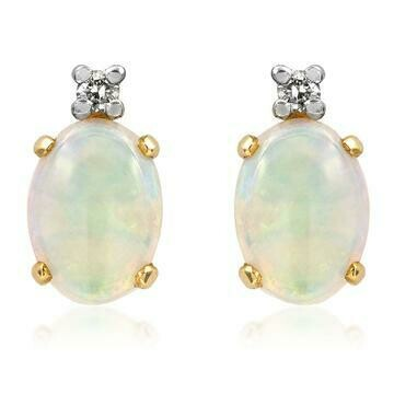 Oval Opal Stud Earrings with Diamond Accent Yellow Gold