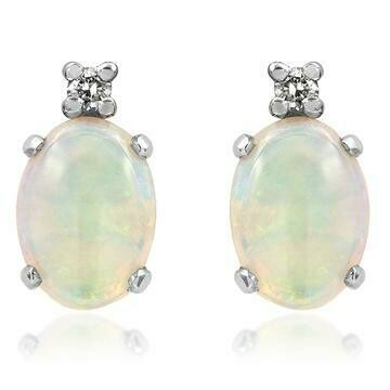 Oval Opal Stud Earrings with Diamond Accent White Gold