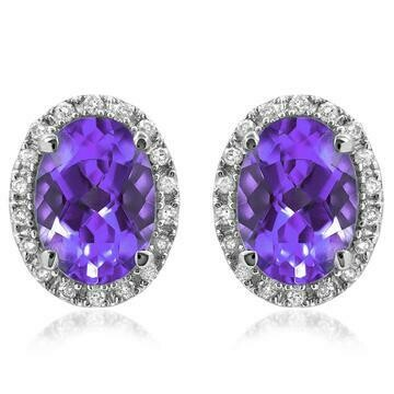 Oval Amethyst Stud Earrings with Diamond Frame White Gold