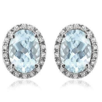 Oval Aquamarine Stud Earrings with Diamond Frame White Gold