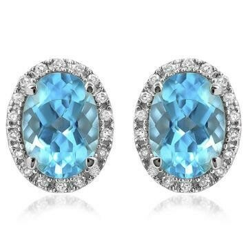 Oval Blue Topaz Stud Earrings with Diamond Frame 14KT Gold