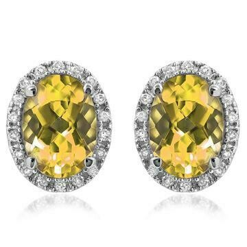 Oval Citrine Stud Earrings with Diamond Frame White Gold