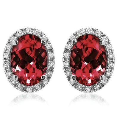 Oval Garnet Stud Earrings with Diamond Frame 14KT Gold