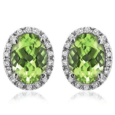 Oval Peridot Stud Earrings with Diamond Frame 14KT Gold