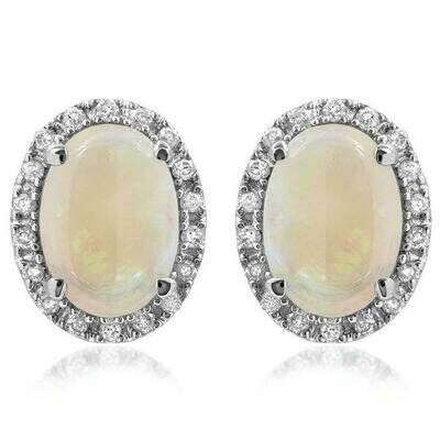 Oval Opal Stud Earrings with Diamond Frame White Gold