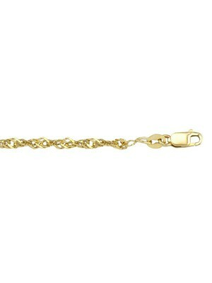 Yellow Gold Solid Singapore Link Anklet 10KT