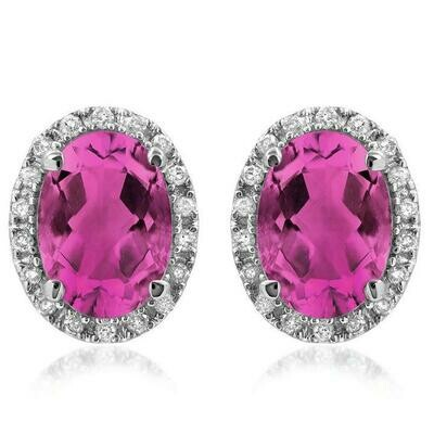 Oval Pink Topaz  Stud Earrings with Diamond Frame 14KT Gold