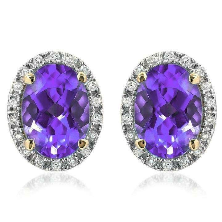 Oval Amethyst Stud Earrings with Diamond Frame Yellow Gold