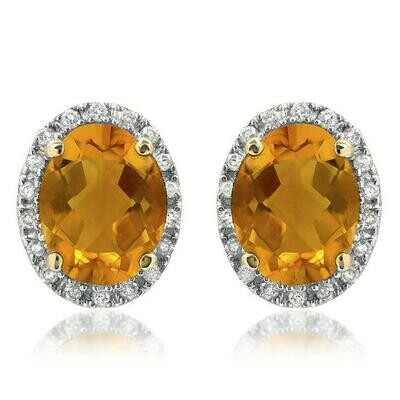 Oval Citrine Stud Earrings with Diamond Frame Yellow Gold