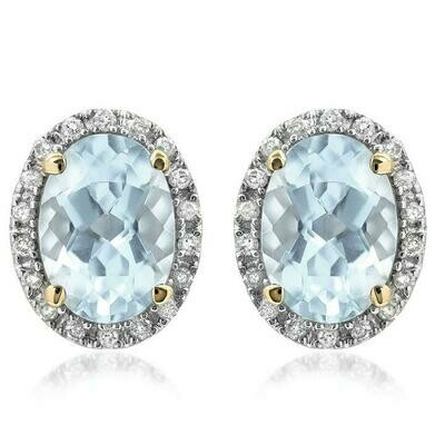 Oval Aquamarine Stud Earrings with Diamond Frame Yellow Gold