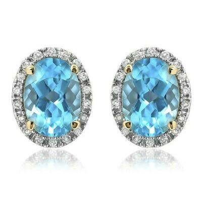 Oval Blue Topaz Stud Earrings with Diamond Frame Yellow Gold