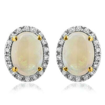Oval Opal Stud Earrings with Diamond Frame Yellow Gold