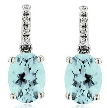 Oval Aquamarine Earrings with Diamond Accent White Gold