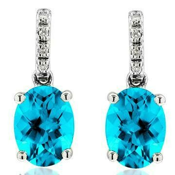 Oval Blue Topaz Earrings with Diamond Accent 14KT Gold