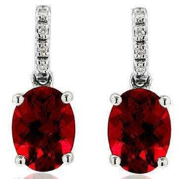 Oval Garnet Earrings with Diamond Accent 14kt Gold