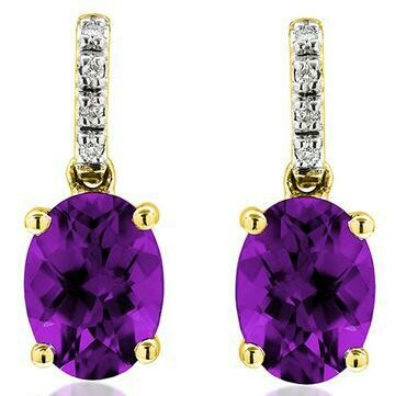 Oval Amethyst Earrings with Diamond Accent Yellow Gold