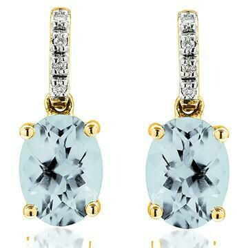 Oval Aquamarine Earrings with Diamond Accent Yellow Gold