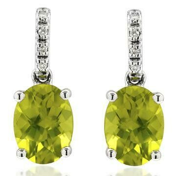 Oval Peridot Earrings with Diamond Accent 14KT Gold