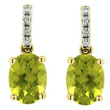 Oval Peridot Earrings with Diamond Accent Yellow Gold