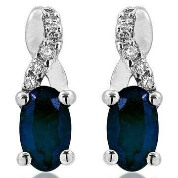 Oval Infinity Blue Sapphire Stud Earrings with Diamond Accent 14KT Gold