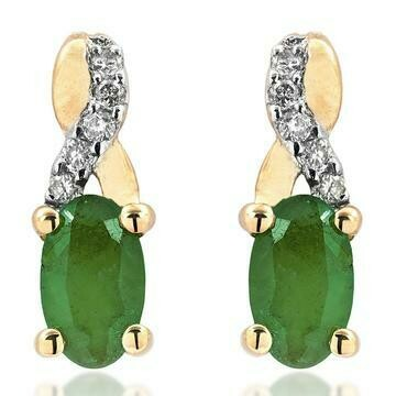 Oval Infinity Emerald Stud Earrings with Diamond Accent Yellow Gold