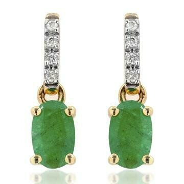 Oval Emerald Earrings with Diamond Accent Yellow Gold