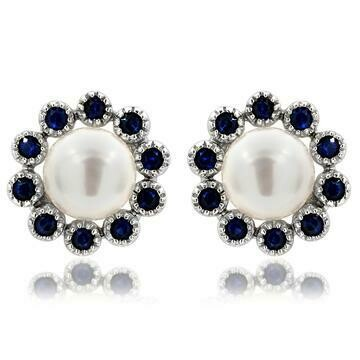 Floral Pearl Stud Earrings Framed with Blue Sapphire 14KT White Gold