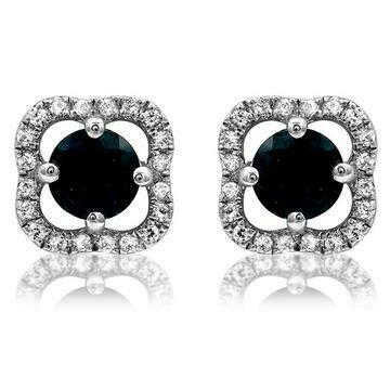 Clover Blue Sapphire Stud Earrings with Diamond Frame 14KT Gold