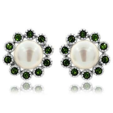 Floral Pearl Stud Earrings Framed with Emerald 14KT White Gold