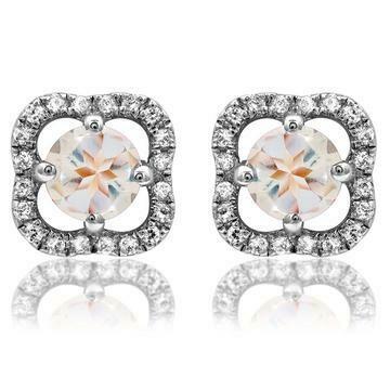 Clover Morganite Stud Earrings with Diamond Frame 14KT Gold